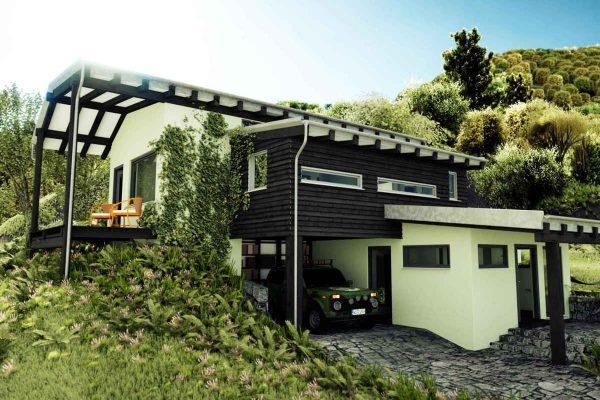 3D Architekturvisualisierung Aussenansicht Haus am Hang in Landschaft fotorealistisch