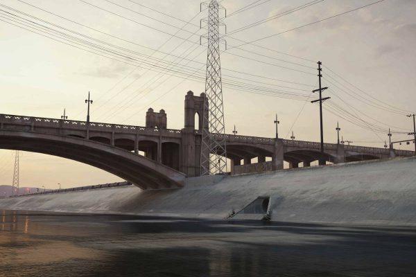 3D Architekturvisualisierung Aussenansicht Landschaft Brücke über Kanal in Los Angeles fotorealistisch