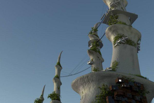 3D Visualisierungen Dresden - Architektur und Fantasy: Außendarstellung Stadtentwurf organische Formen fotorealistisch