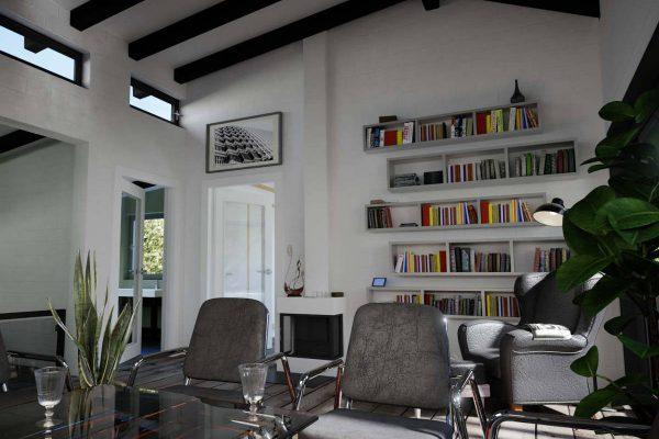 """3D Architekturvisualisierung Innenansicht: Wohnzimmer """"Haus am Hang"""" mit Einrichtung, fotorealistisch"""
