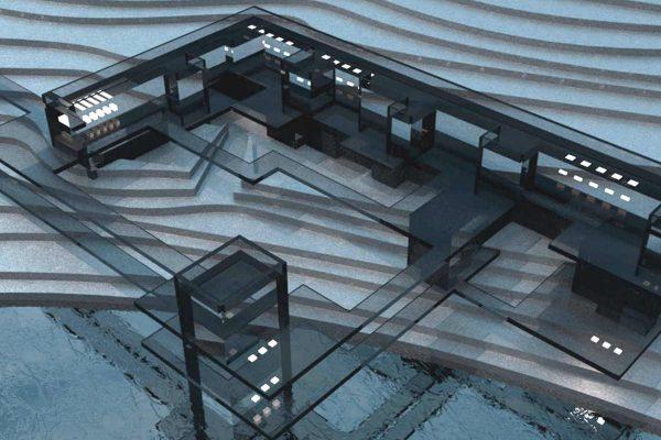 3D Visualisierungen Dresden - Architektur: Modell Gebäudekomplex in Landschaft Schematisch