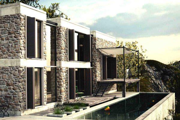 3D Architekturvisualisierung Aussenansicht Haus am Hang mit Pool fotorealistisch
