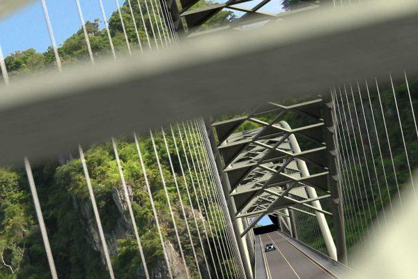 3D Landschaftsvisualisierung Aussenanlage Visualisierung Hängebrücke mit Auto fotorealistisch