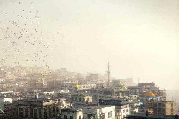 3D Landschaftsvisualisierung Orientalisch anmutende Stadtansicht/Skyline mit Vogelschwarm im Morgennebel fotorealistisch