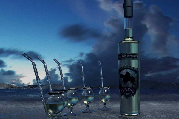 3D Produktvisualisierung fotorealistisch Absyntheum Absinth Produktpräsentation Absinth Ordo mit Trinkpfeiffen vor Himmel