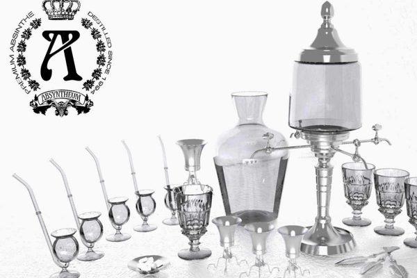 3D Vsualisierungen Dresden - Produkte: Absyntheum Absinth Trinkzubehör wie Karaffen und Zuckerlöffel