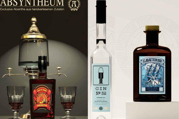 3D Visualisierungen Dresden - Produkte: Absyntheum Absinth und Dresdner Gin Produktpräsentation