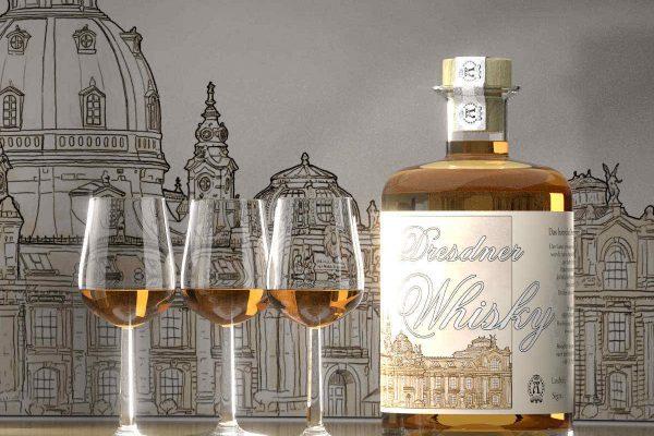 3D Produktvisualisierung Dresdner Spirituosen Manufaktur: Dresdner Whisky im Gals und mit Flasche vor Zeichnung der Dresdner Frauenkirche