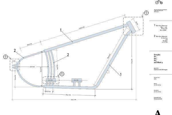 3D Produktvisualisierung Fahrrad mit Beiwagen: Schematische Darstellung mit Maßen für Fertigung Detail Rahmen