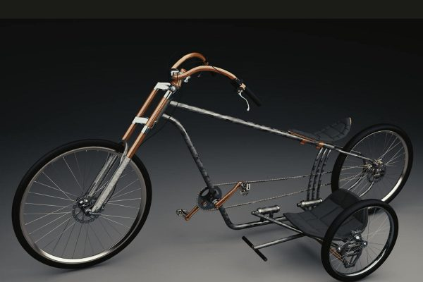 3D Produktvisualisierungen Dresden: Fahrrad mit Beiwagen: Produktpräsentation Variante Metall Ansicht von der Seite