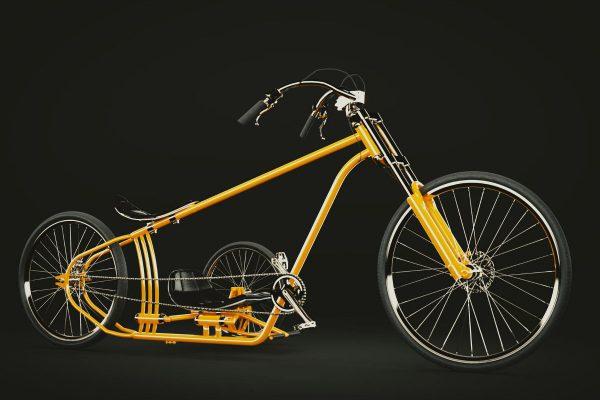 3D Produktvisualisierungen Dresden: Fahrrad mit Beiwagen Produktpräsentation Variante orange Ansicht von der Seite