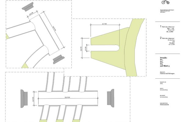 3D Produktvisualisierung: Fahrrad mit Beiwagen - Schematische Darstellung mit Maßen für Fertigung Detail Befestigung Beiwagen