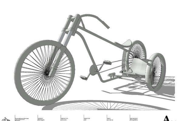 3D Visualisierungen Dresden - Produkte: Fahrrad mit Beiwagen - Schematische Darstellung gesamtes Rad