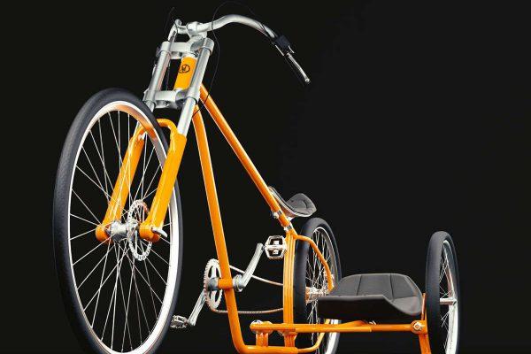 3D Produktvisualisierung Fahrrad mit Beiwagen: Produktpräsentation Variante orange Ansicht von vorne