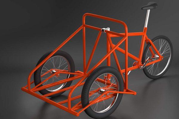 3D Produktvisualisierung Lastenfahrrad mit Lasten vorne, fotorealistisch