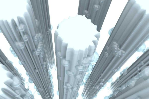 3D Produktvisualisierung: Darstellung der Funktion einer Matratze - Detail Wassertropfen an Fasern