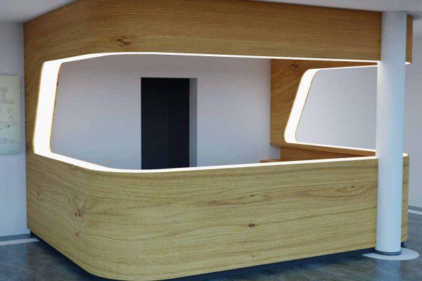 3D Innenraumvisualisierung Empfangstresen Privatklinik fotorealistisch eingefügt in Bestand: Variante 2 Spaceship