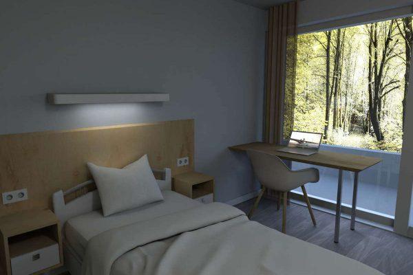 3D Innenraumvisualisierung Patientenzimmer: Photomontage mit Ausblick aus Fenster