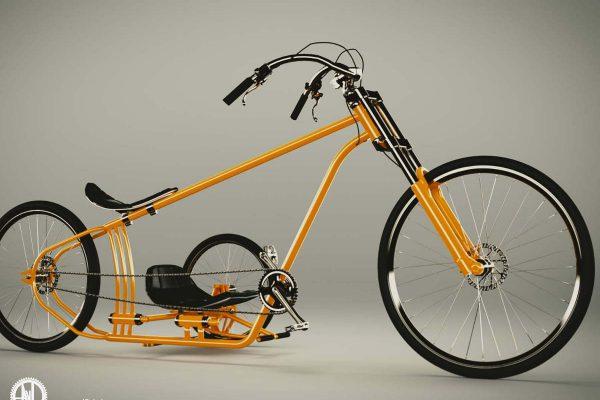 3D Produktvisualisierung: Oranger Fahrrad-Cruizer mit-Beiwagen, Seitenansicht, fotorealistisch