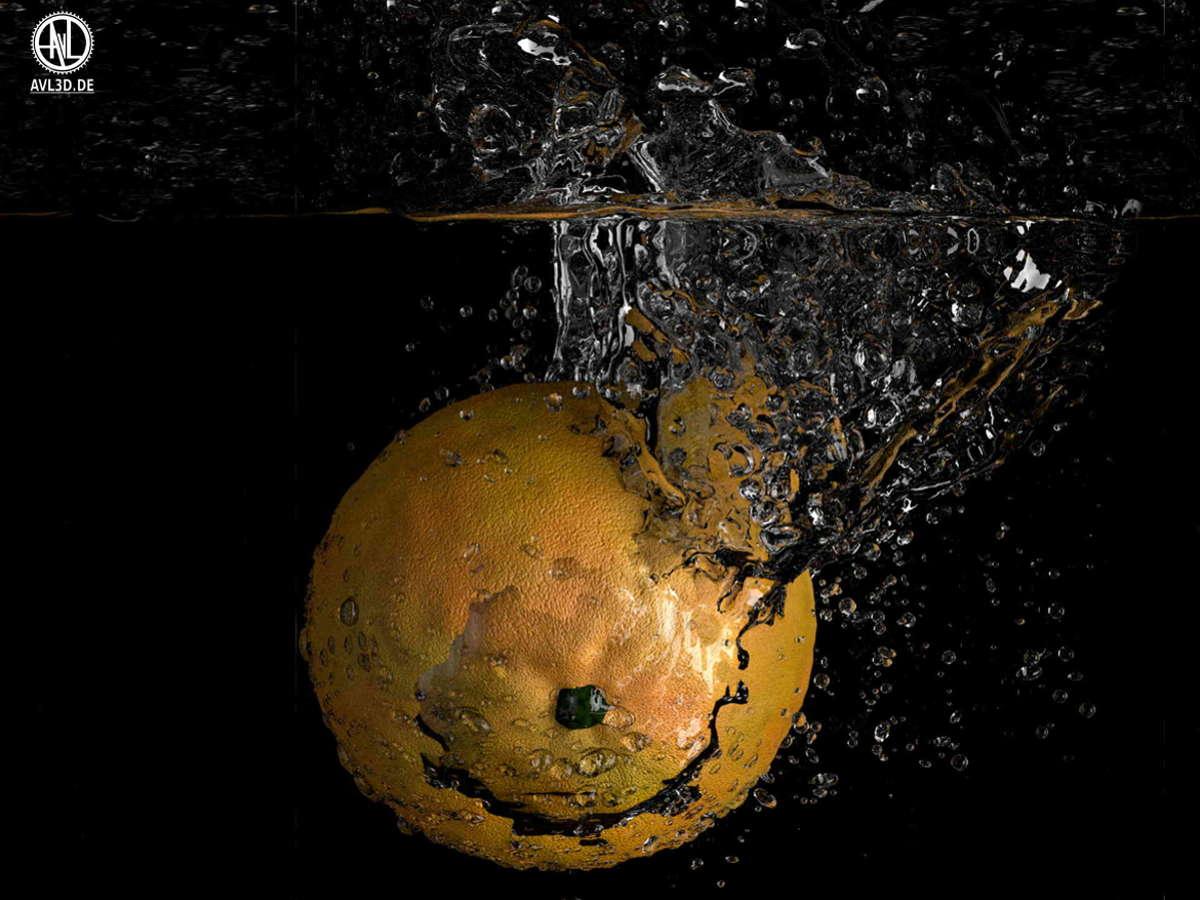 3D Produktvisualisierung einer Orange, die ins Wasser fällt (3D Lebensmittel, fotorealistisch)-fällt-in-Wasser-fotorealistisch