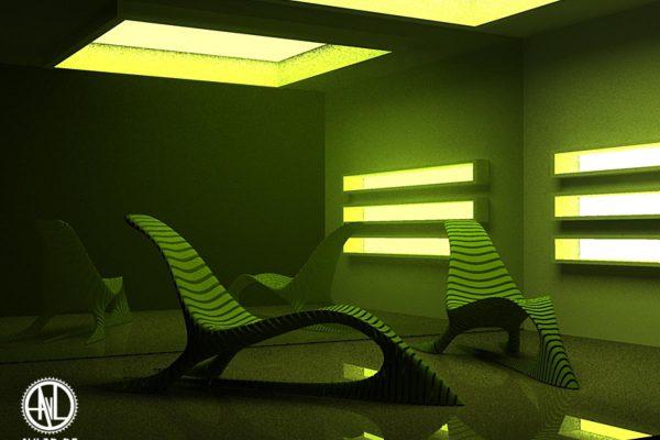 3D Produktvisualisierung: Alien artig anmutende Liegestühle in futuristischer Umgebung, fotorealistisch
