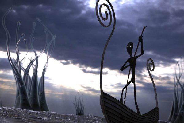 3D Visualisierung SciFi/Fantasy: Fährmann auf Boot im Wasser, fotorealistisch