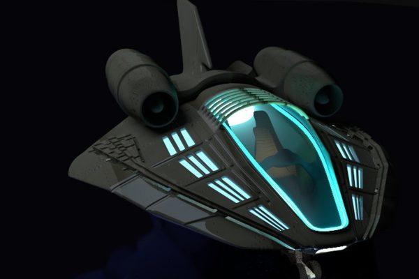 3D Visualisierung SciFi/Fantasy: Raumschiff vor schwarzem Hintergrund, fotorealistisch