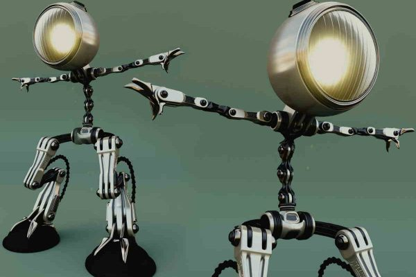 3D Visualisierung SciFi/Fantasy: Lampen tanzen als Figuren, fotorealistisch