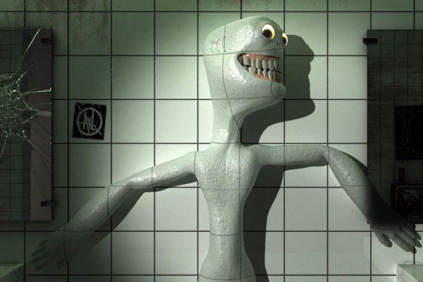 3D Visualisierung SciFi Fantasy: RAd-Männchen versucht sich zu verstecken, fotorealistisch