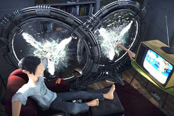 3D Visualisierung SciFi Fantasy: Teleportation ist erfunden - was nützts? Der Mensch kann nun im Wohnzimmer den Fernseher per Teleportation bedienen. Endlich :-) (fotorealistisch)