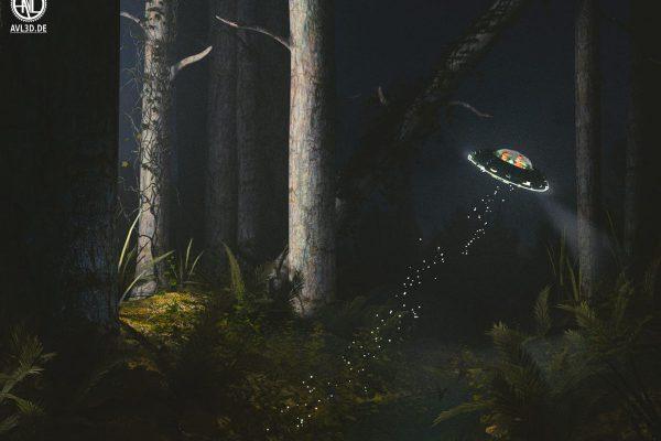 3D Visualisierung SciFi Fantasy: Miniatur Alien Raumschiff fliegt von der Erde weg, fotorealistisch