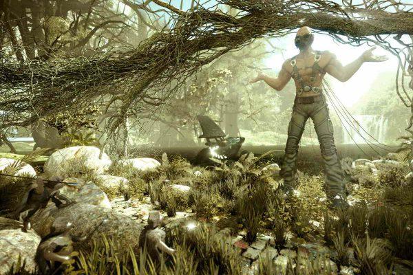 3D Visualisierung SciFi Fantasy: Pilot hat Bruchlandung im Dschungel gemacht und zuckt mit den Schultern, fotorealistisch