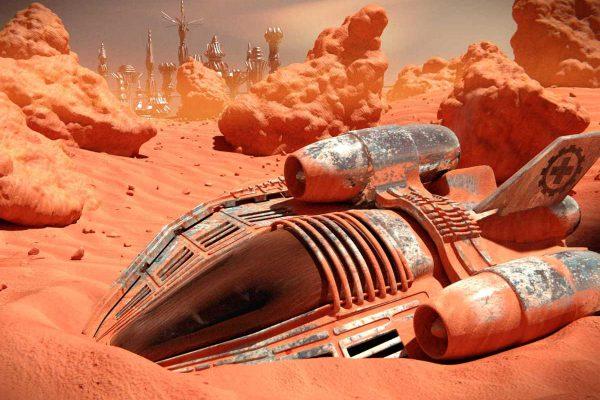 3D Visualisierung SciFi Fantasy: Raumschiff ist gestandet in der Wüste eines roten Planeten, fotorealistisch