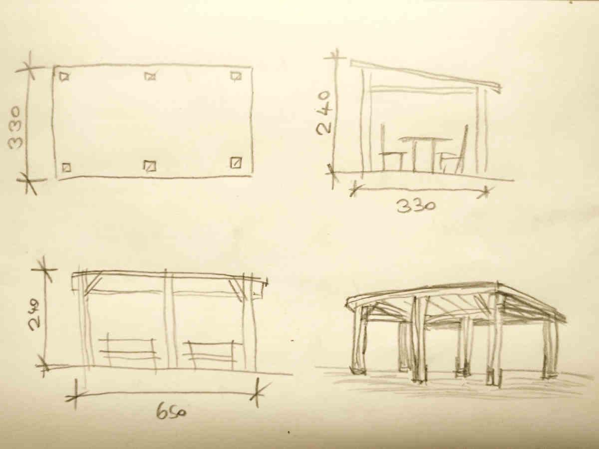3D Visualisierungen Dresden - Schritt 1: Handskizze als Vorlage vom Kunden für Visualisierung Pavillion